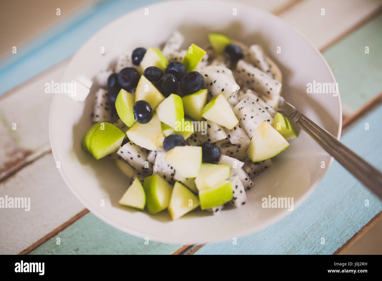 Apple and dragonfruit Breakfast Bowl - Stock Image