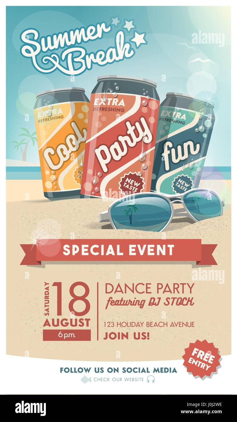 Vacations and summer party poster with fresh drinks, sunglasses and tropical beach on the background, entertainment - Stock Vector