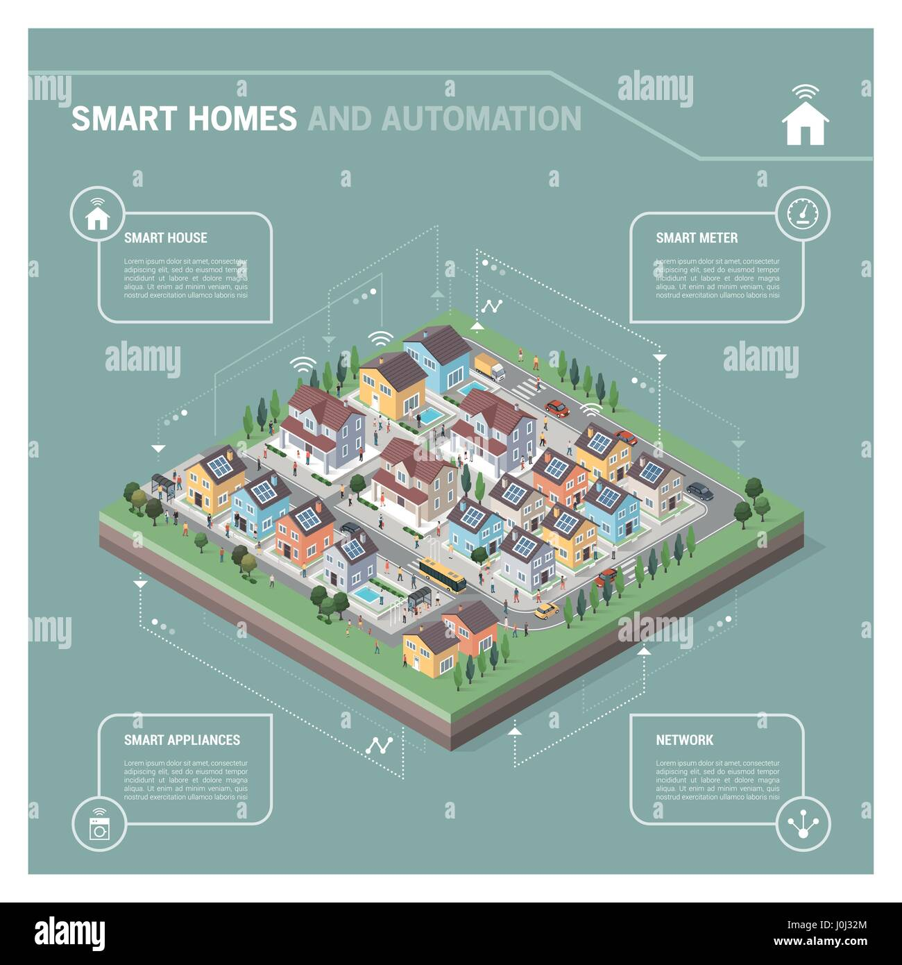Vector isometric residential area with houses, people, streets and vehicles: smart homes and connectivity concept - Stock Vector