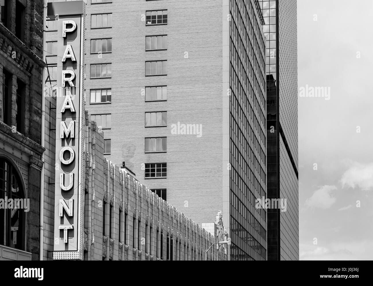 Denver, USA - May 25, 2016: Sign of the Paramount Cafe in the historic Kittredge building in the 16th Street mall. - Stock Image