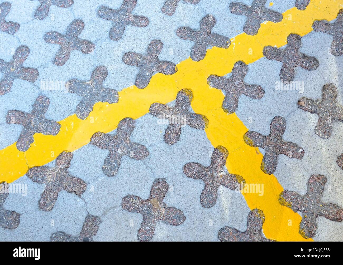Sidewalk bricks closeup at city - Stock Image