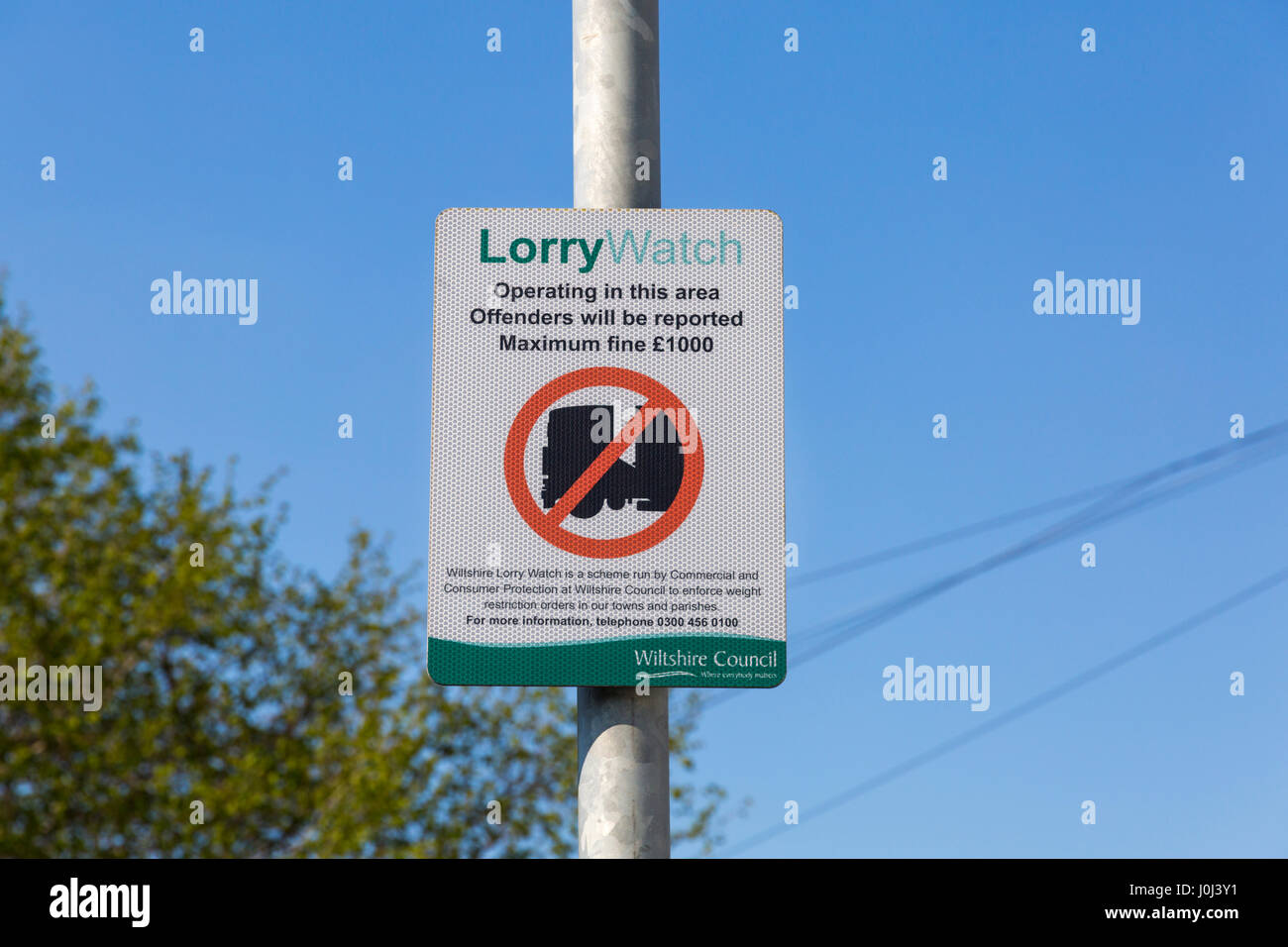 no lorries LorryWatch Lorry Watch operating in this area offenders will be reported maximum fine £1000 road - Stock Image