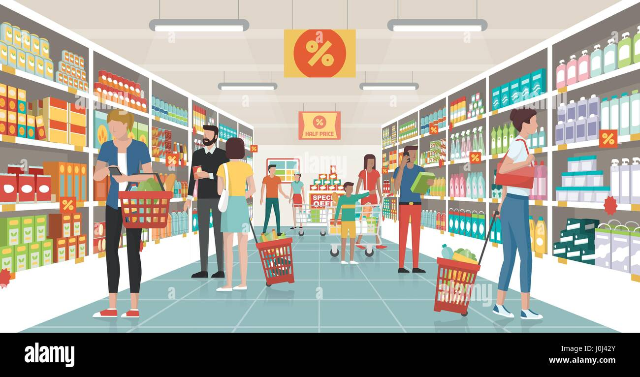 People shopping at the supermarket, they are choosing products on the shelves and pushing carts or shopping baskets - Stock Vector
