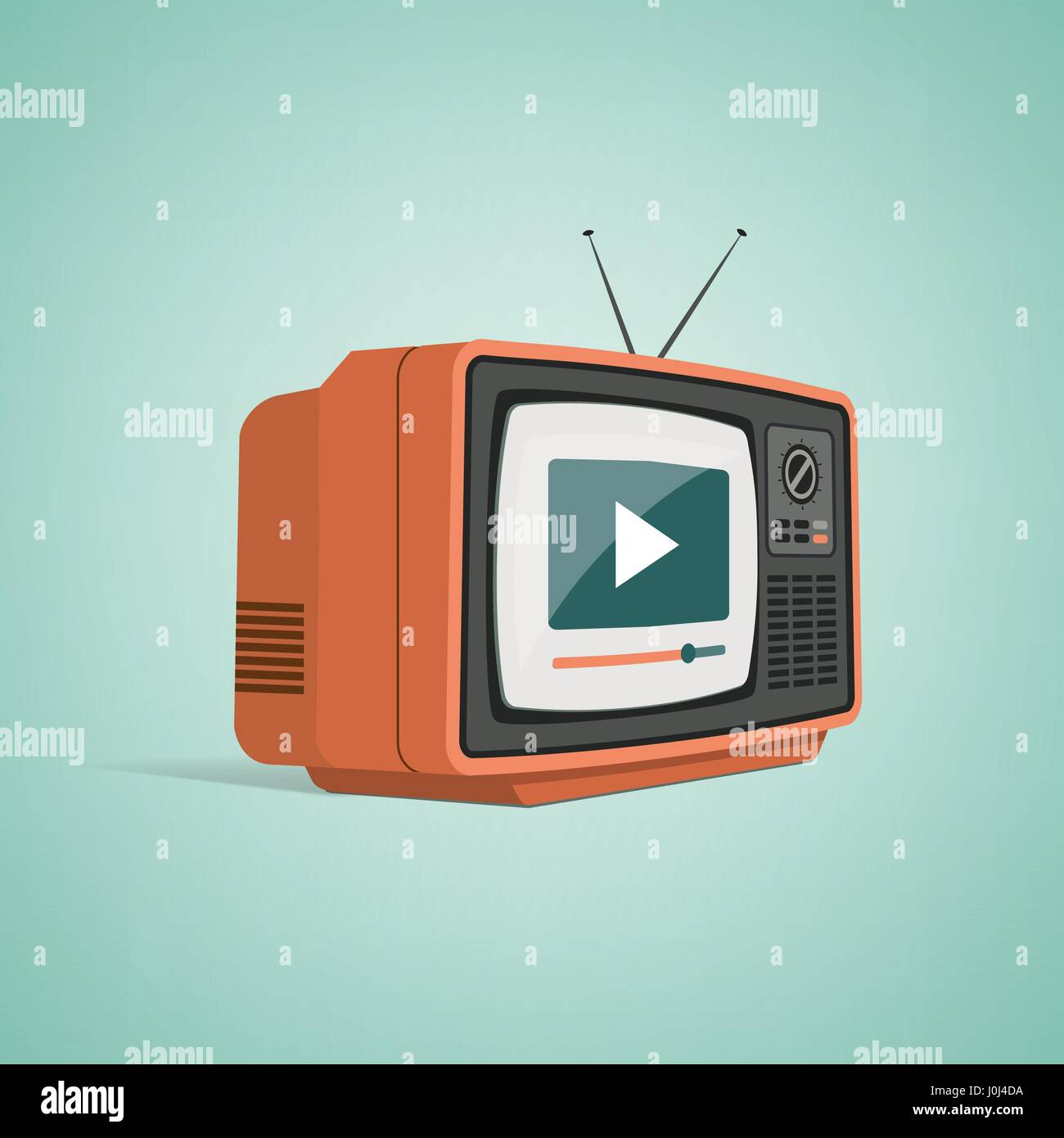 Vintage tv with antenna streaming a video, smart television and ...