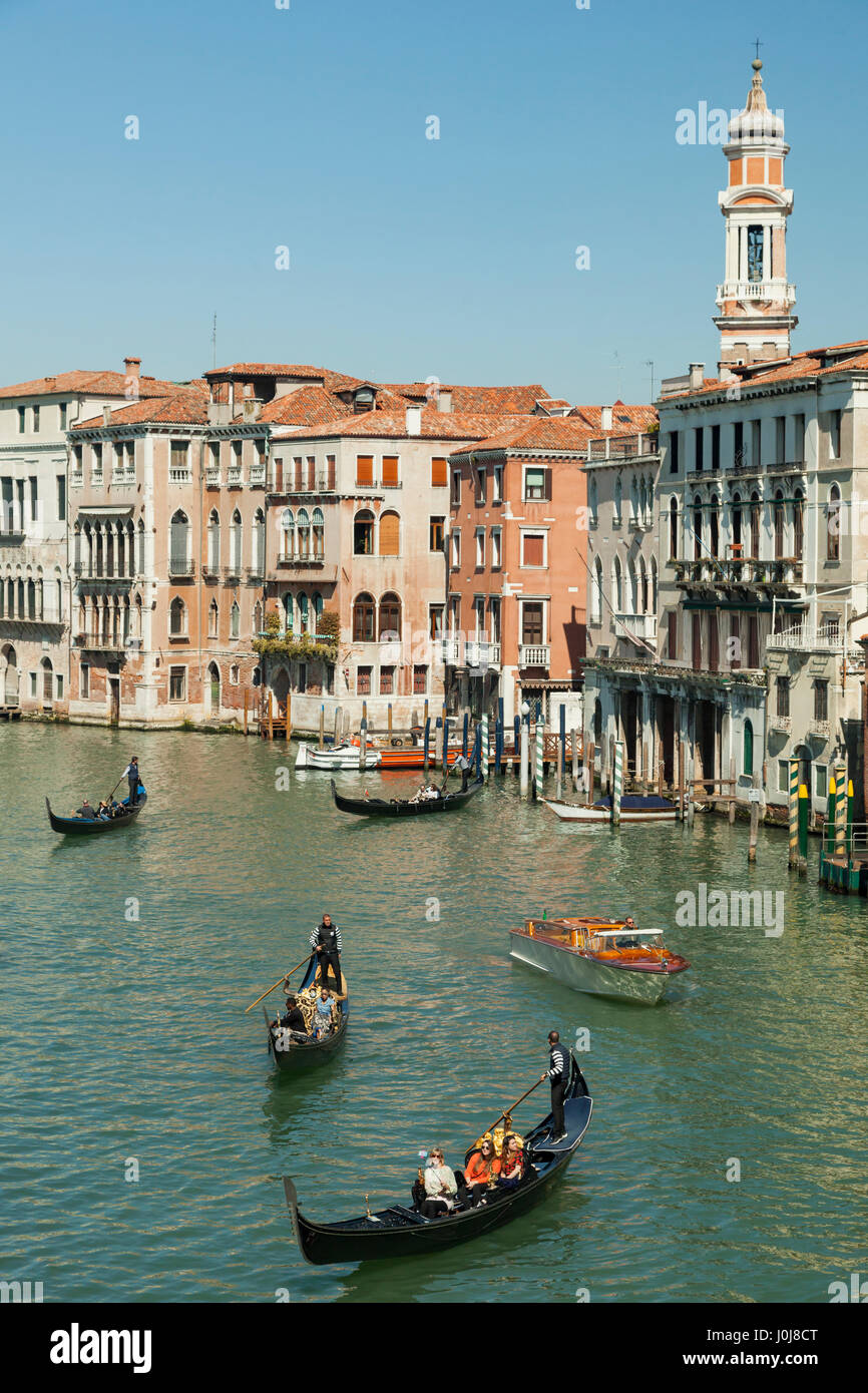 Spring afternoon on Grand Canal in Venice, Italy. Stock Photo