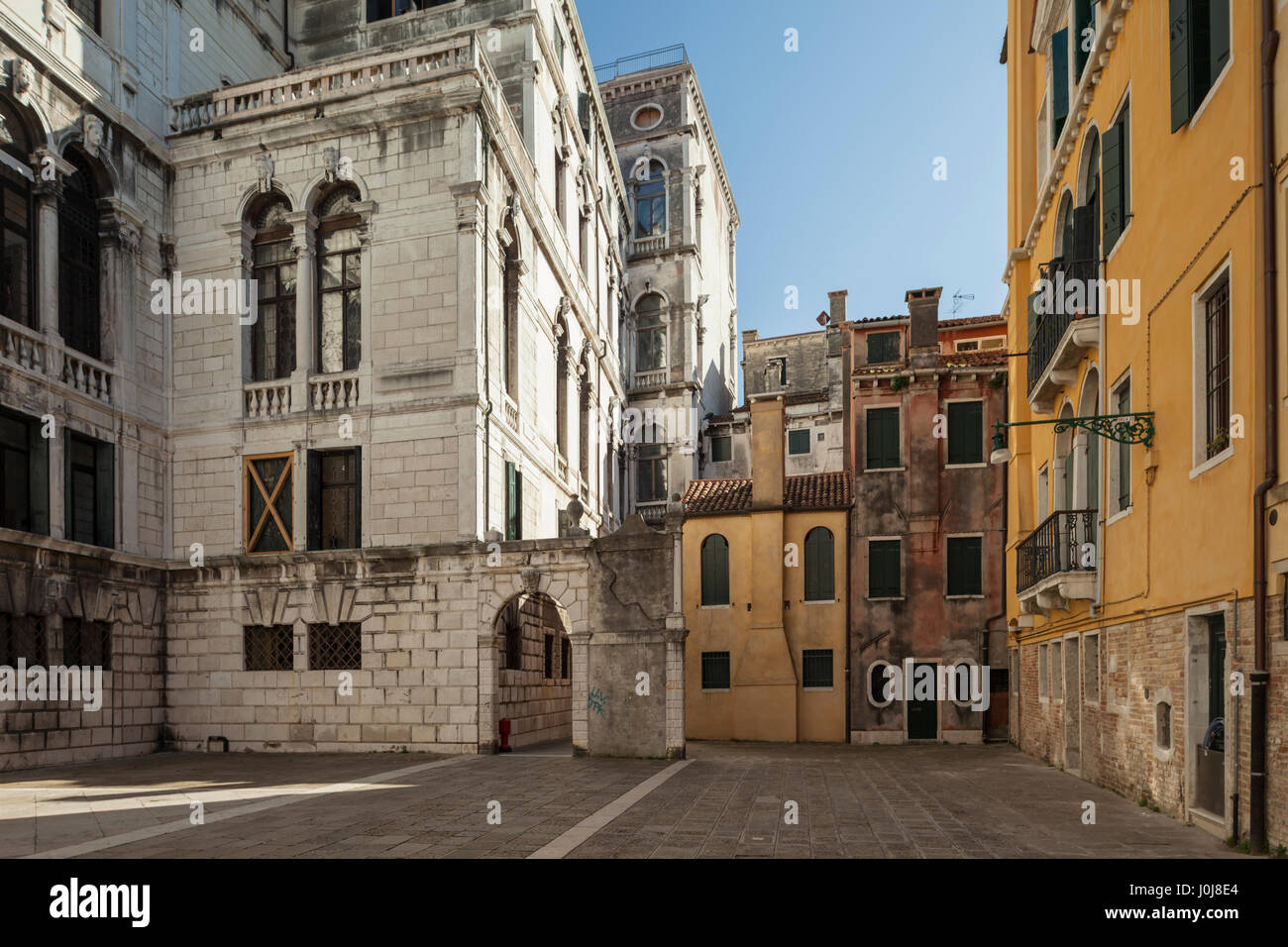 Spring afternoon at Conservatorio di musica Benedetto Marcello, sestiere of San Marco, Venice, Italy. - Stock Image