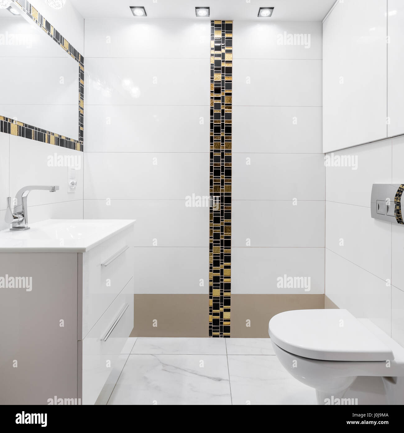 Luxury designed bathroom with modern ceramic tiles and rectangular ...