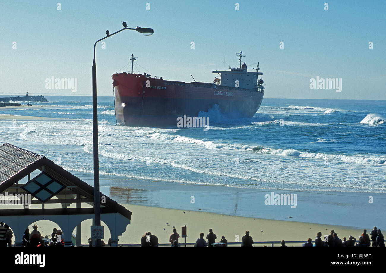 The Pasha Bulker bulk carrier ship, ran aground on Nobbys Beach in Newcastle, New South Wales, Australia on June - Stock Image