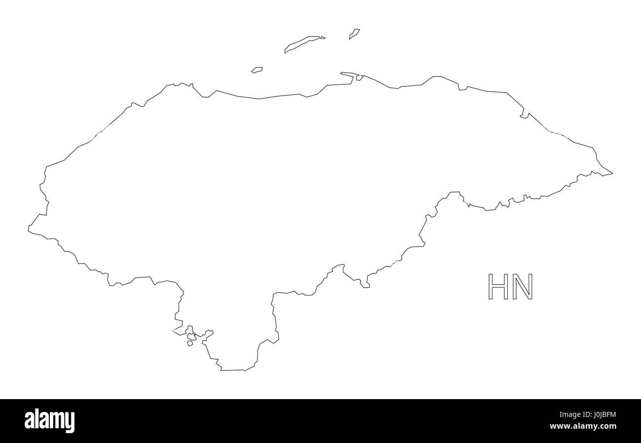 Honduras outline silhouette map illustration Stock Vector
