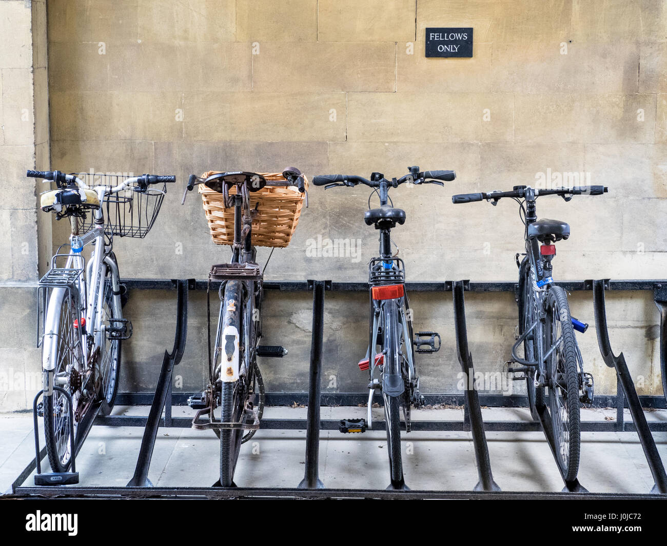 Fellows Bikes racked in Peterhouse College, part of the University of Cambridge. The oldest college in Cambridge, - Stock Image