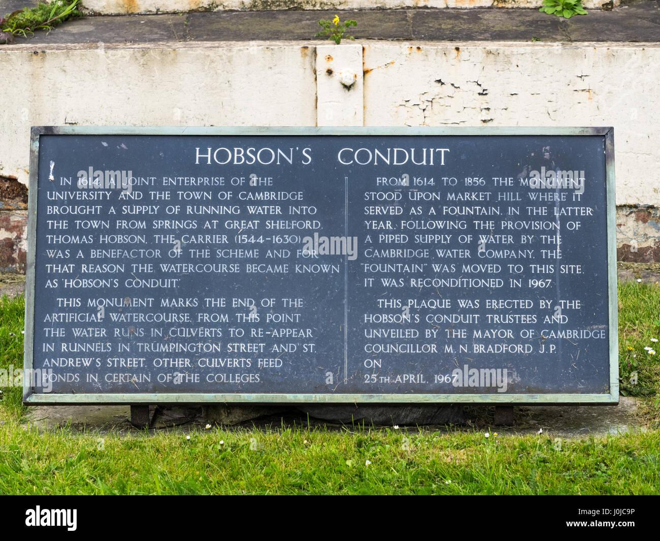 Descriptive sign on the ornamental fountain on Hobson's Conduit, Cambridge, UK. The conduit was originally built - Stock Image