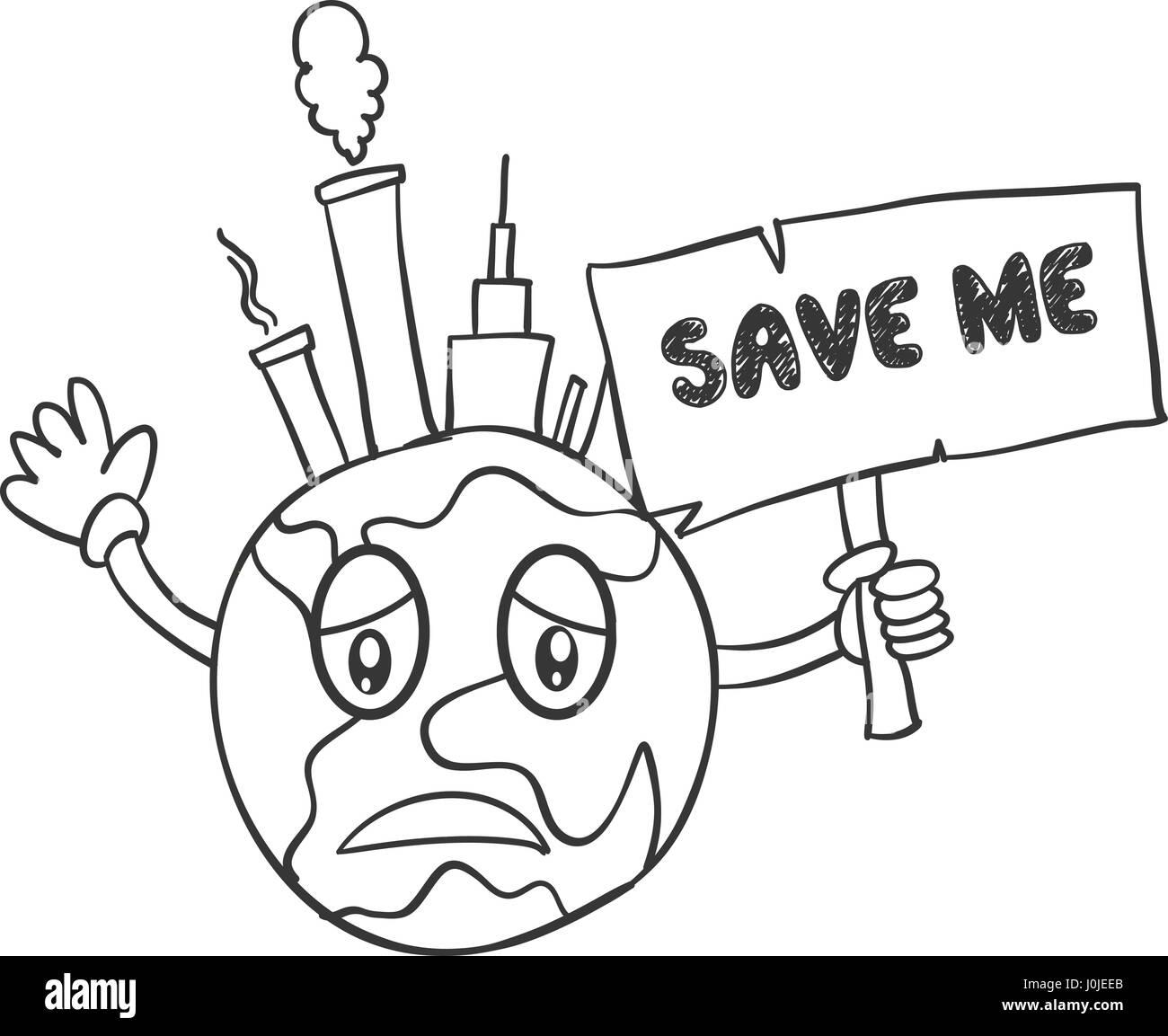 Hand Draw Of World Earth Day Stock Vector Art Illustration Vector