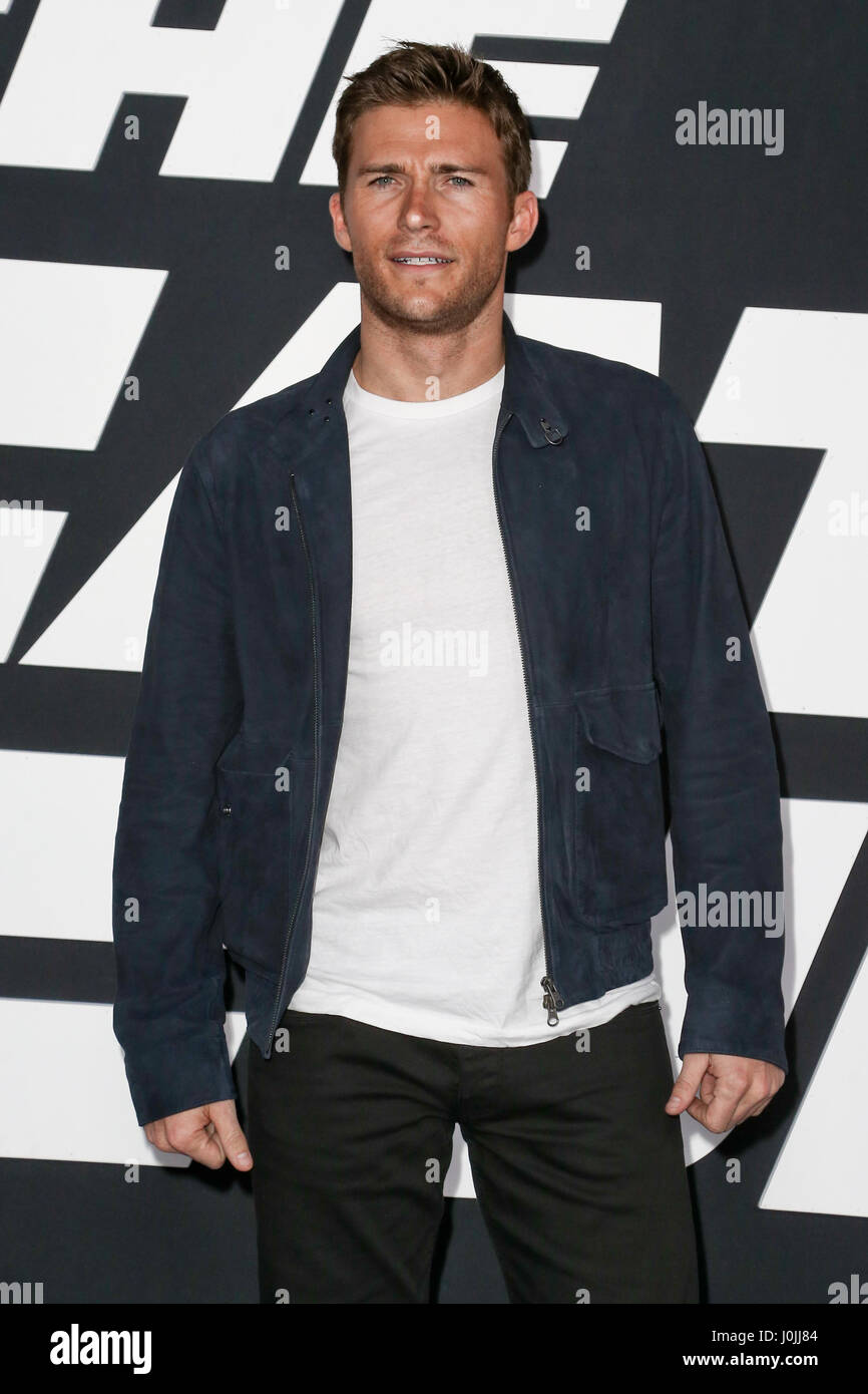 Scott Eastwood attends the world premiere of 'The Fate of the Furious' at Radio City Music Hall on April - Stock Image