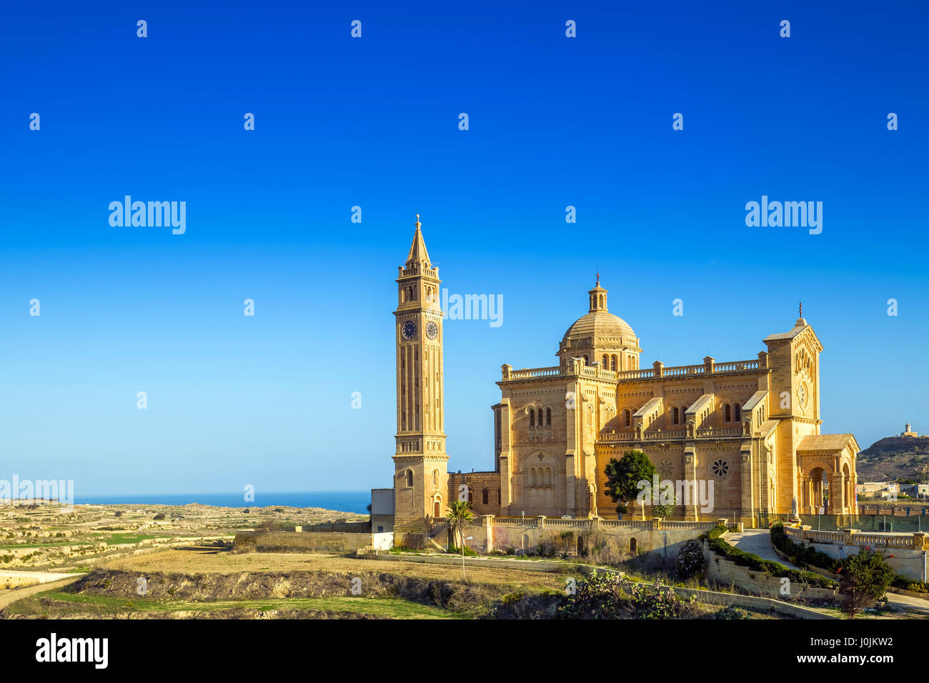 Gozo, Malta - The Basilica of the National Shrine of the Blessed Virgin of Ta' Pinu early at the morning with clear Stock Photo