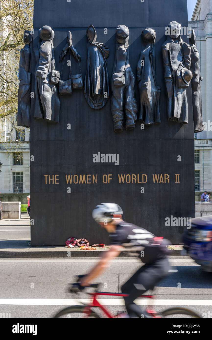 The Women of World War II Memorial is a British national war memorial situated on Whitehall in central London. - Stock Image