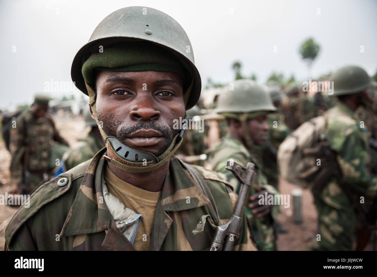 DRC national army (FARDC) soldier during military operations against the Rwandan-backed  M23 armed group near the - Stock Image