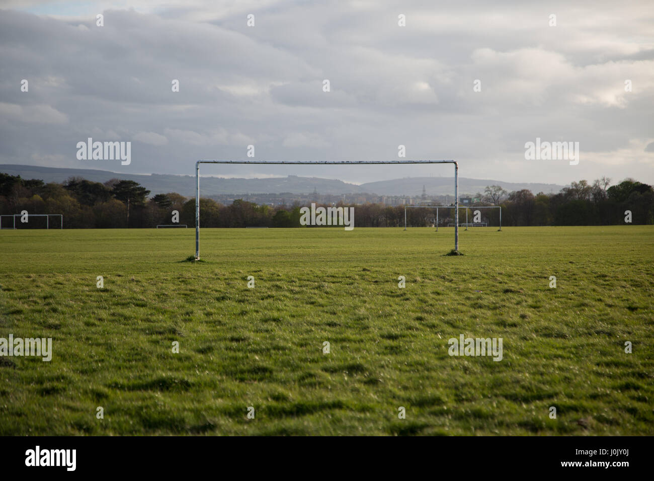 Goalposts on a football pitch. - Stock Image