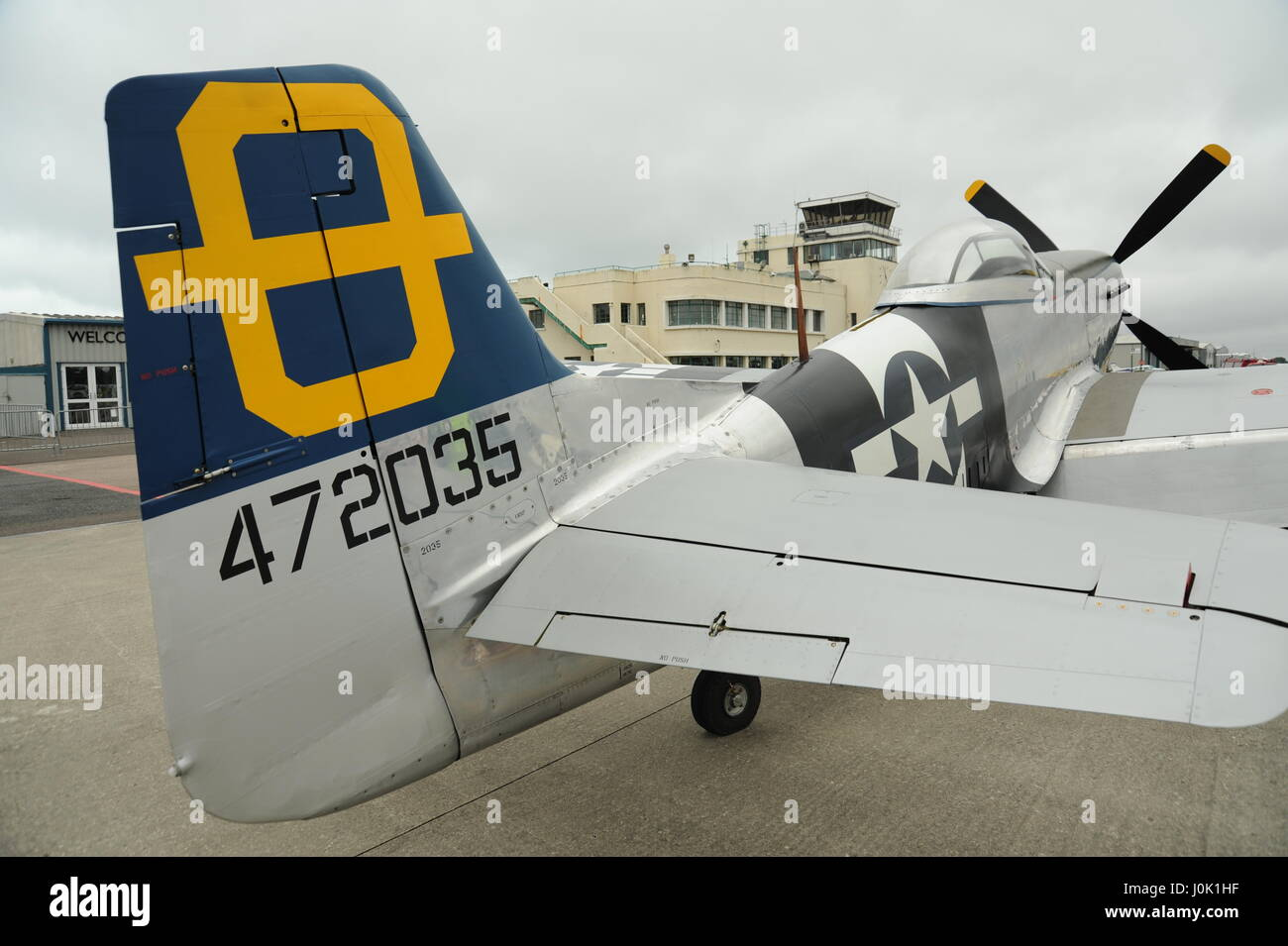 View from tailplane of a mustang aircraft - Stock Image