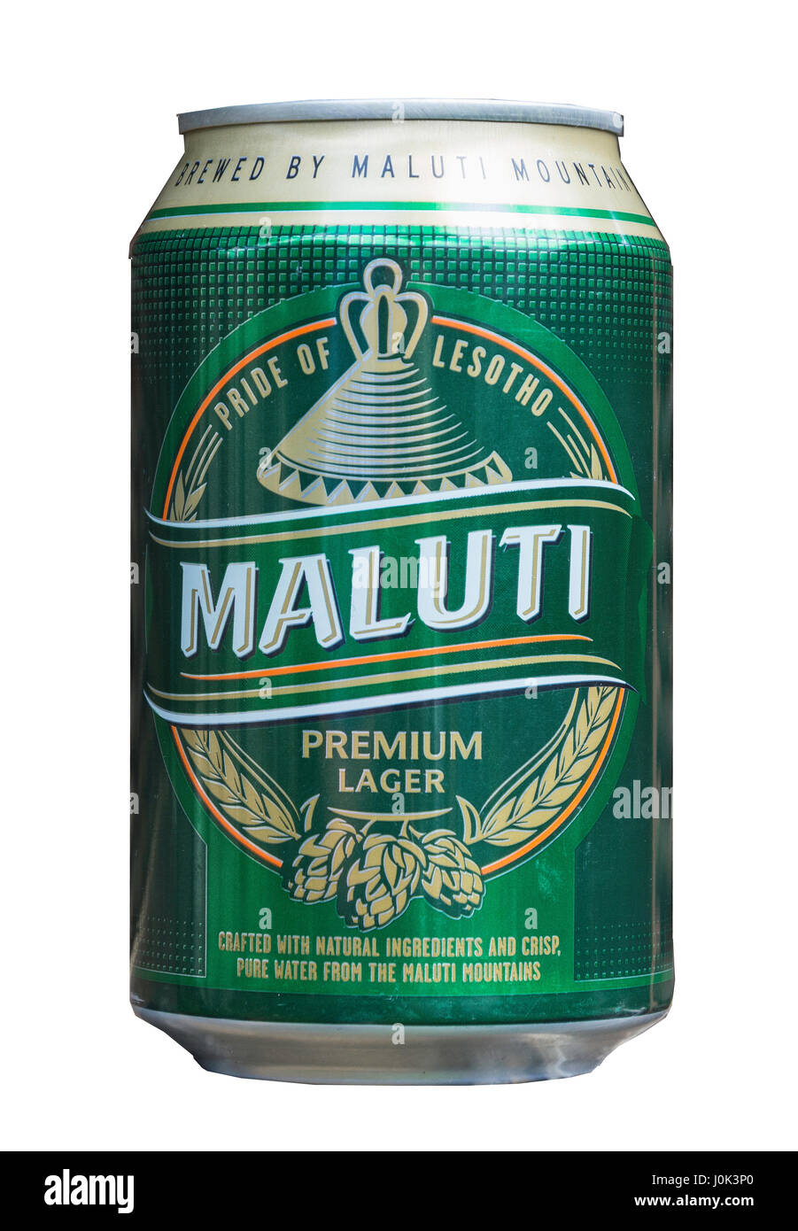 Can of local Maluti premium lager beer, Maseru, Maseru District, Kingdom of Lesotho - Stock Image