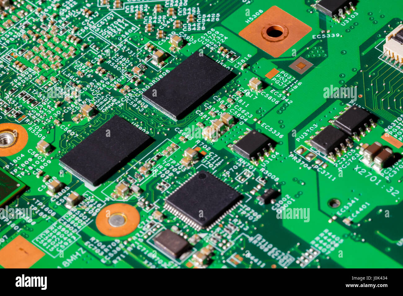 Close up shot of computer chips on a PCB - Stock Image