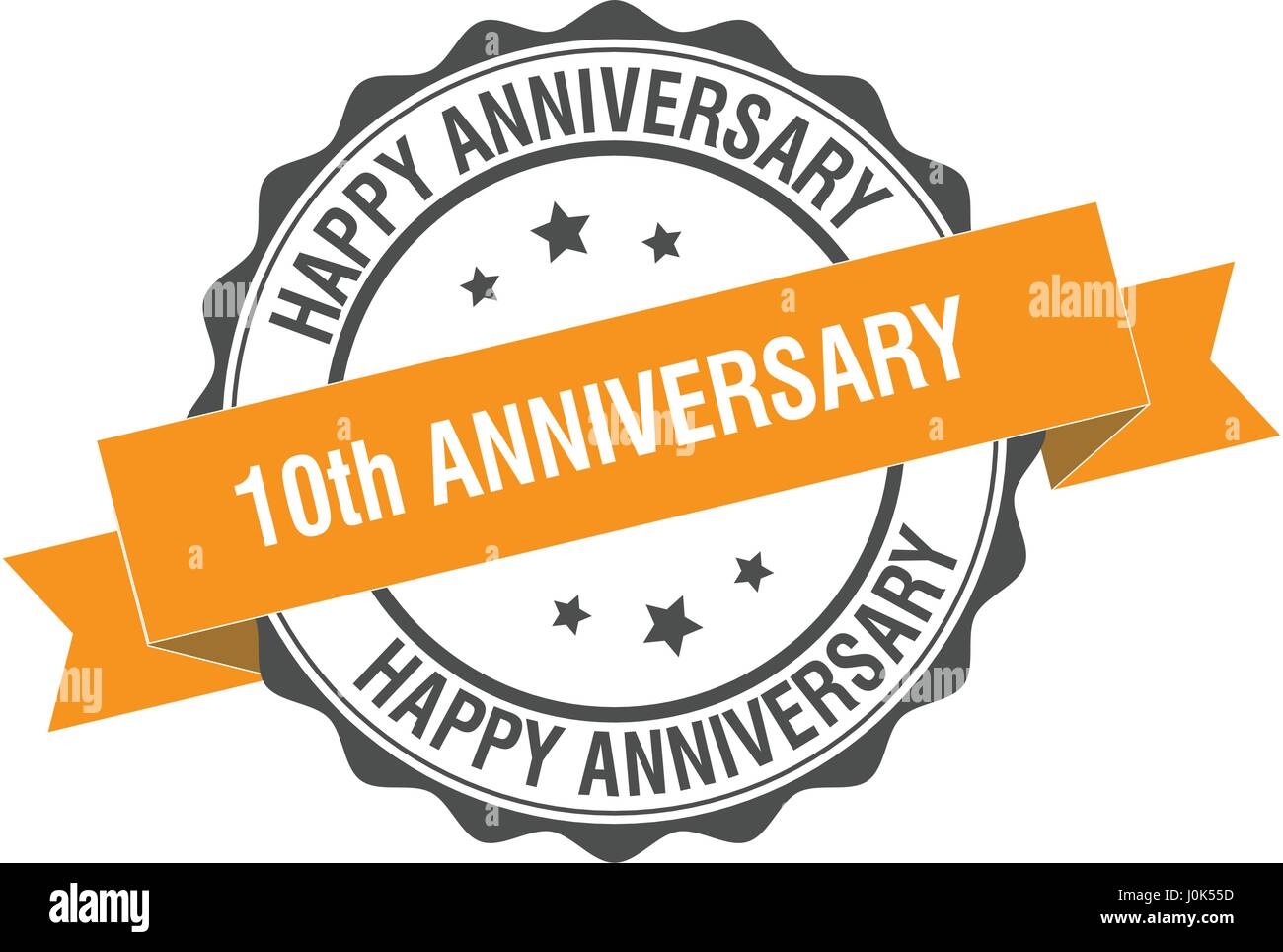 10th anniversary stamp illustration - Stock Vector