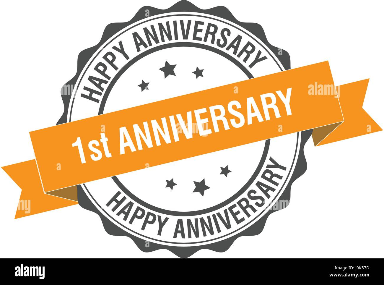 1st anniversary stamp illustration - Stock Vector