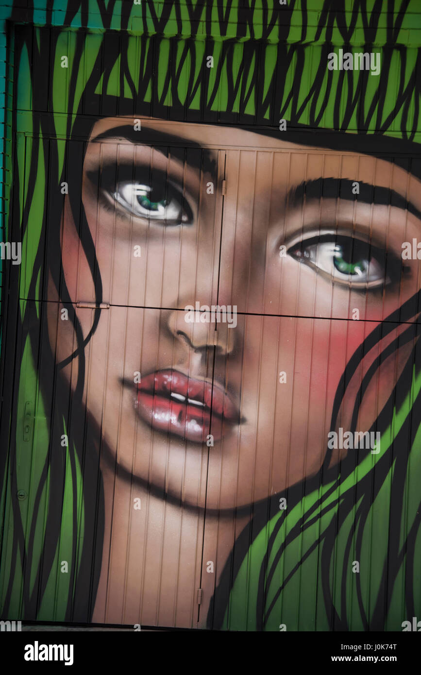 One of several examples of street art in the centre of Bento Goncalves - Stock Image