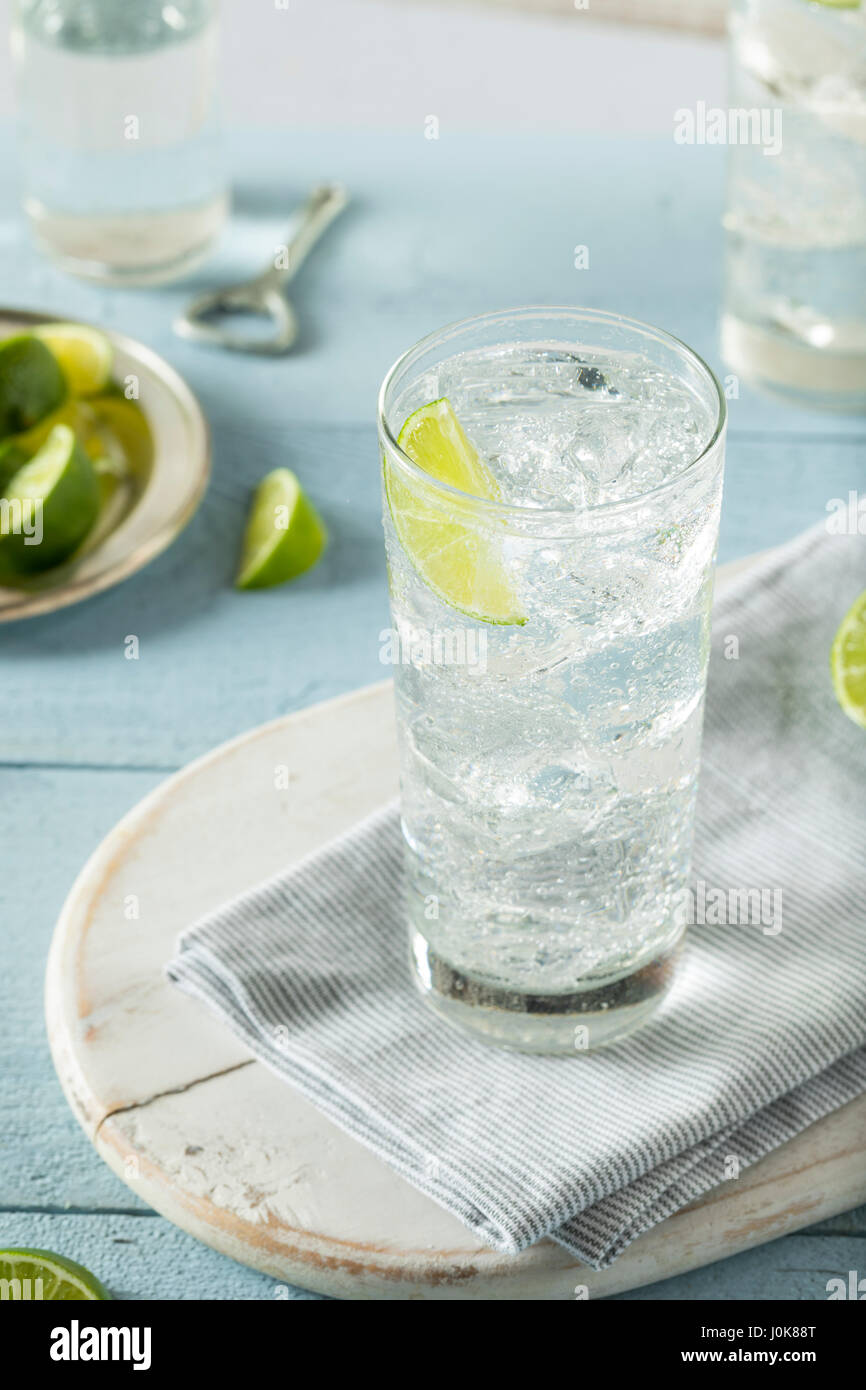 Refreshing Hard Sparkling Water with a Lime Garnish Stock Photo