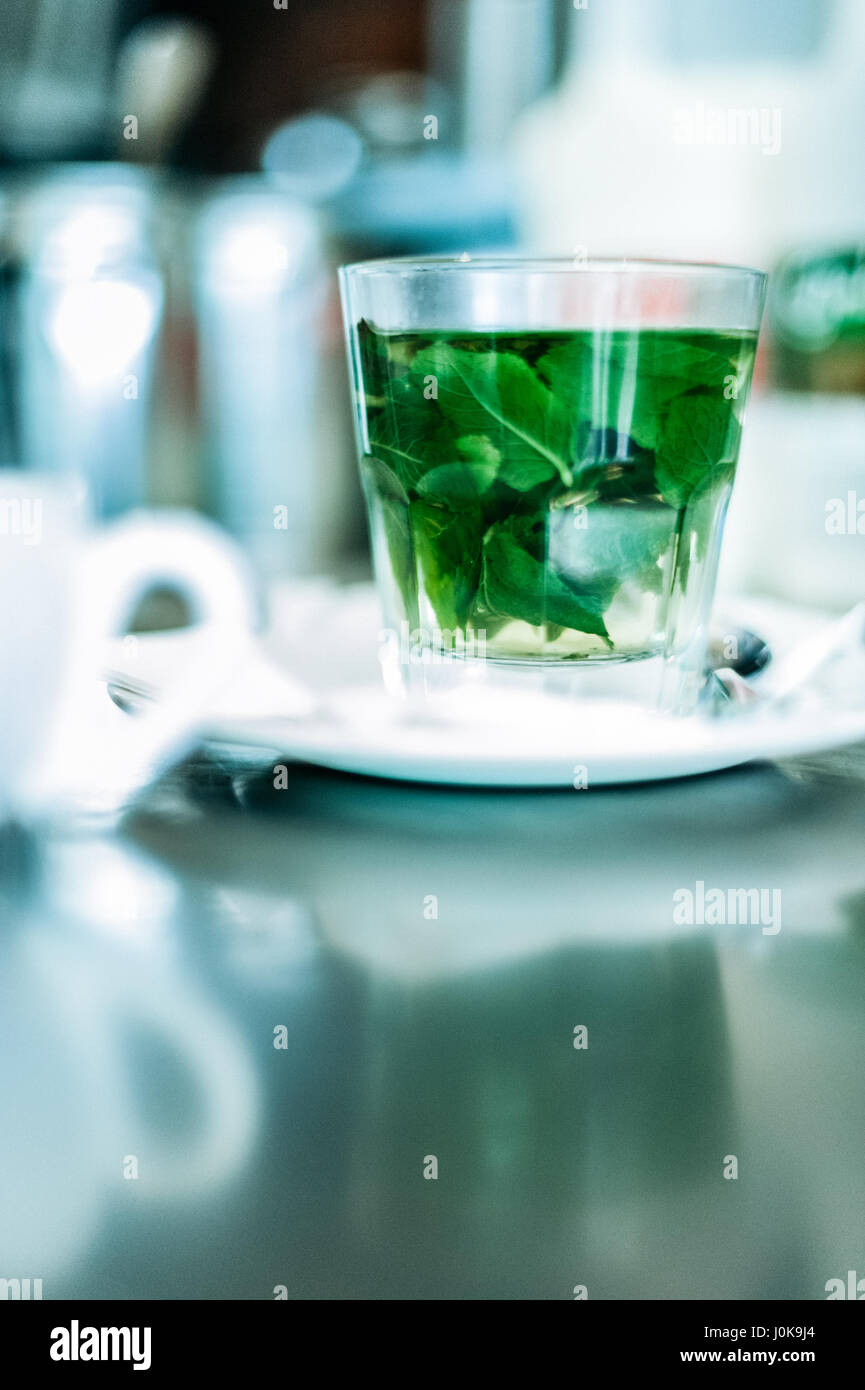 Glass of Peppermint Tea Brewing - Stock Image
