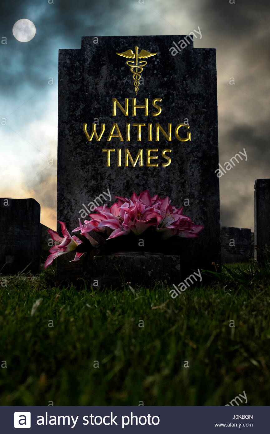NHS Waiting Times written on a headstone, composite image, Dorset England. - Stock Image
