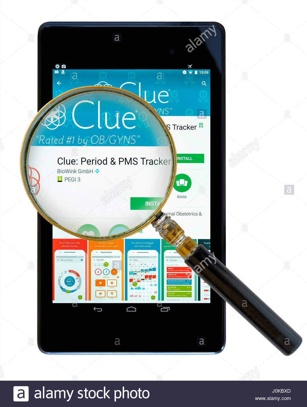 Clue PMS Tracker, app on an android tablet PC Dorset England UK Stock Photo