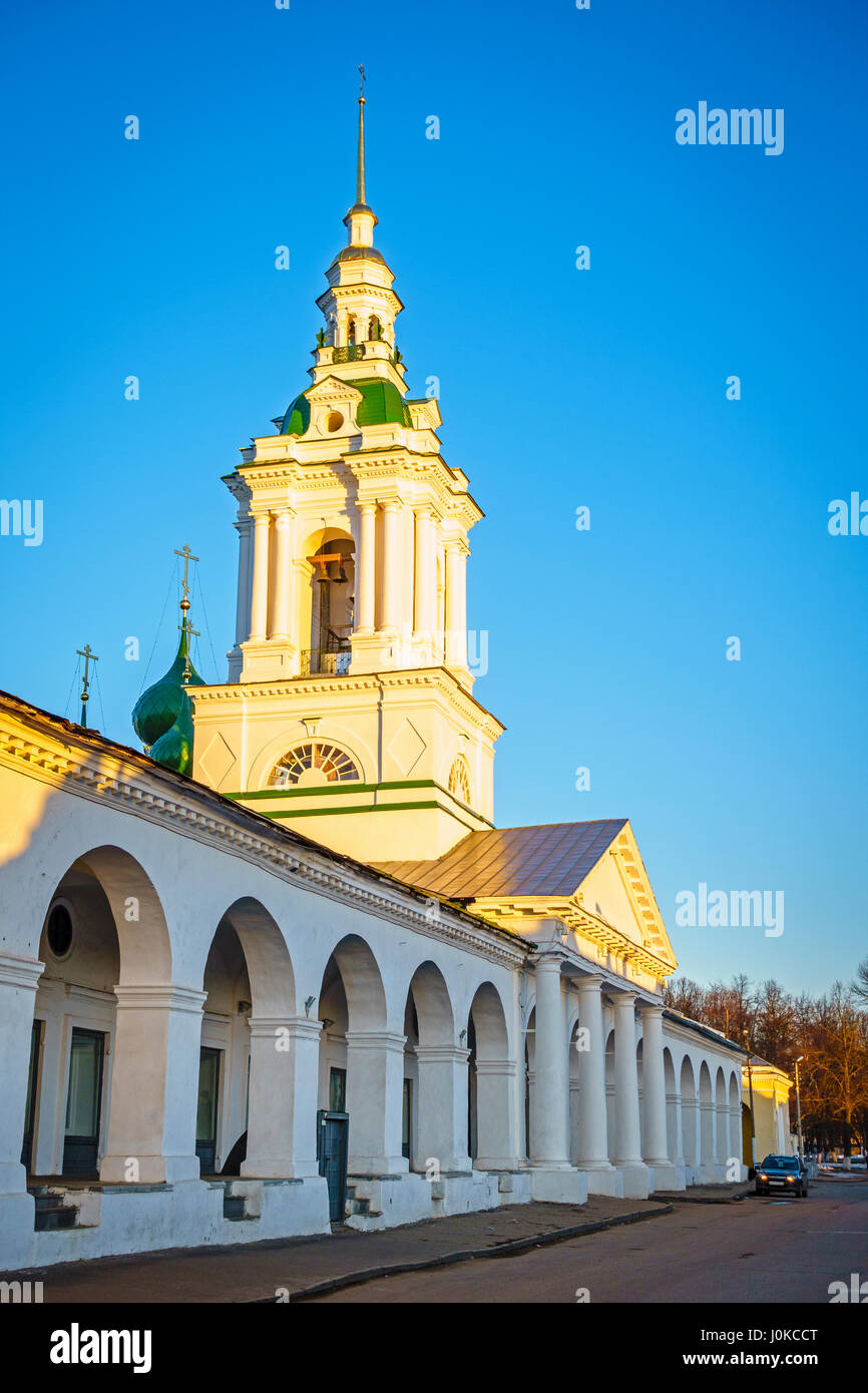 Trading Arcades in the city of Kostroma, Russia at sunset - Stock Image