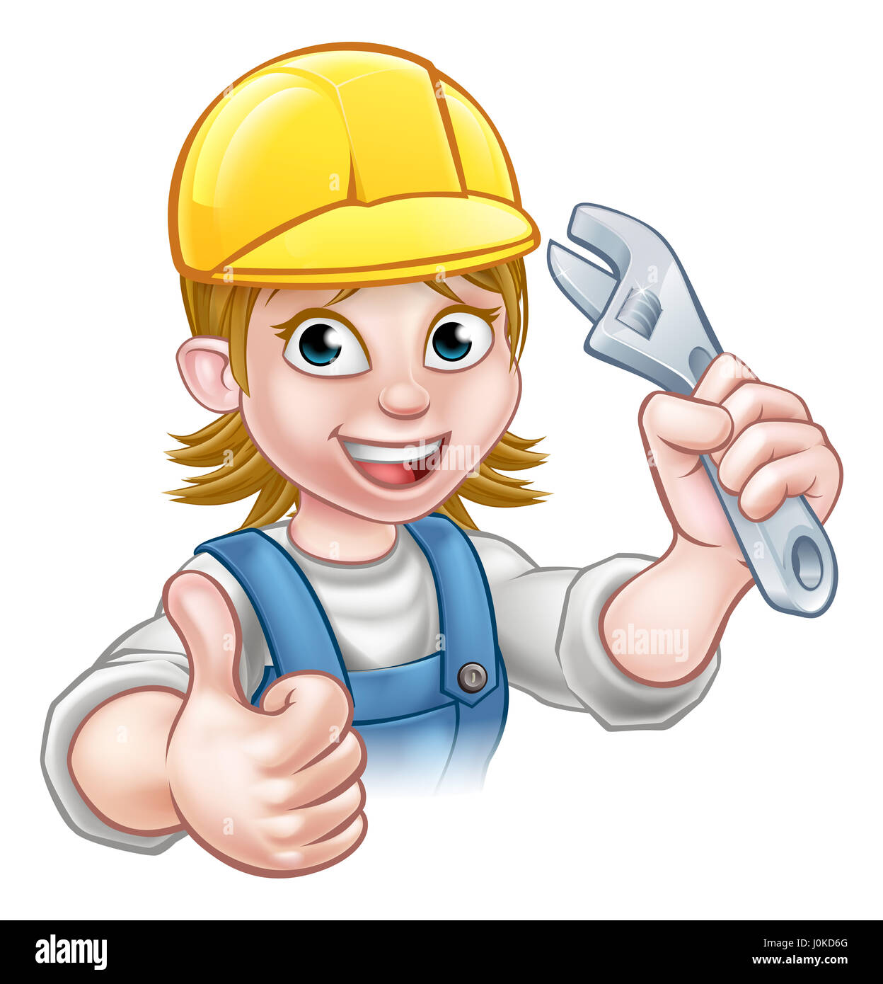 A handyman mechanic or plumber cartoon character holding a spanner and  giving a thumbs up 09434defe5d8