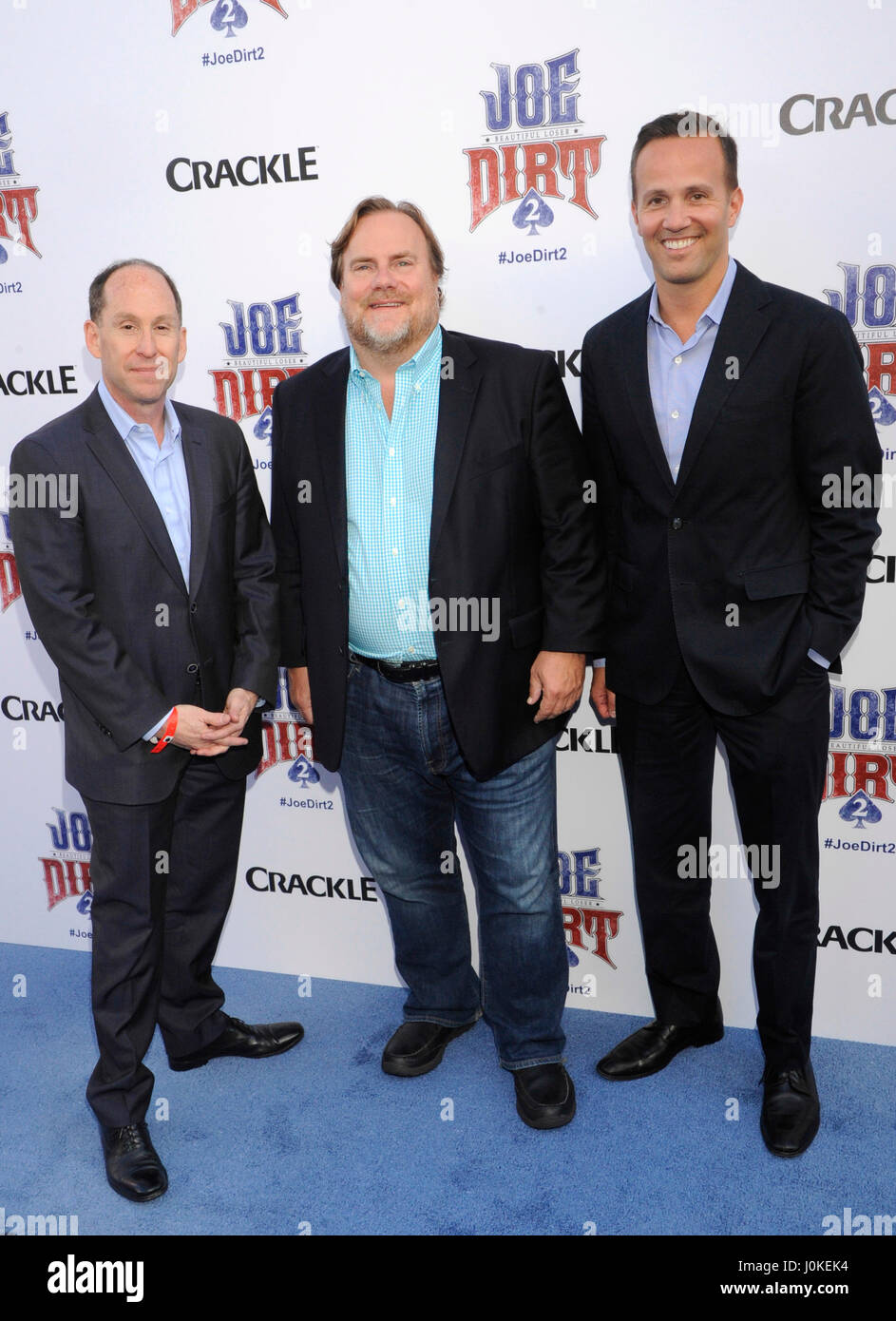 Actor Kevin Farley (c) and Eric Berger (r) attend the Joe Dirt 2: Beautiful  Loser premiere hosted by Crackle at Sony Studios on June 24th, ...