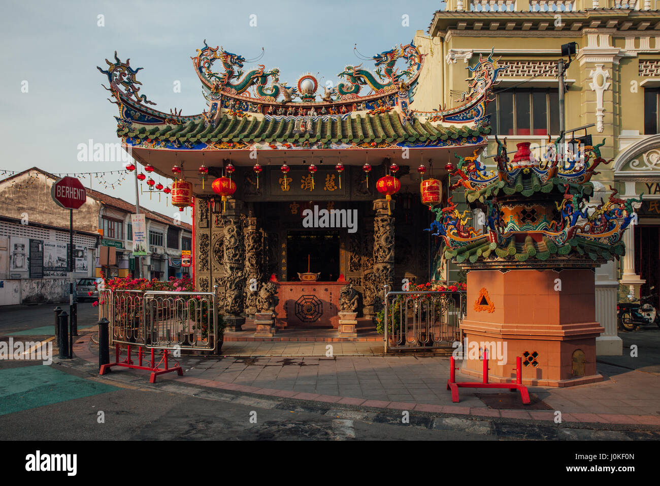 George Town, Malaysia - March 21, 2016: Sunset view of the Choo Chay Keong Temple adjoined to Yap Kongsi clan house, Stock Photo