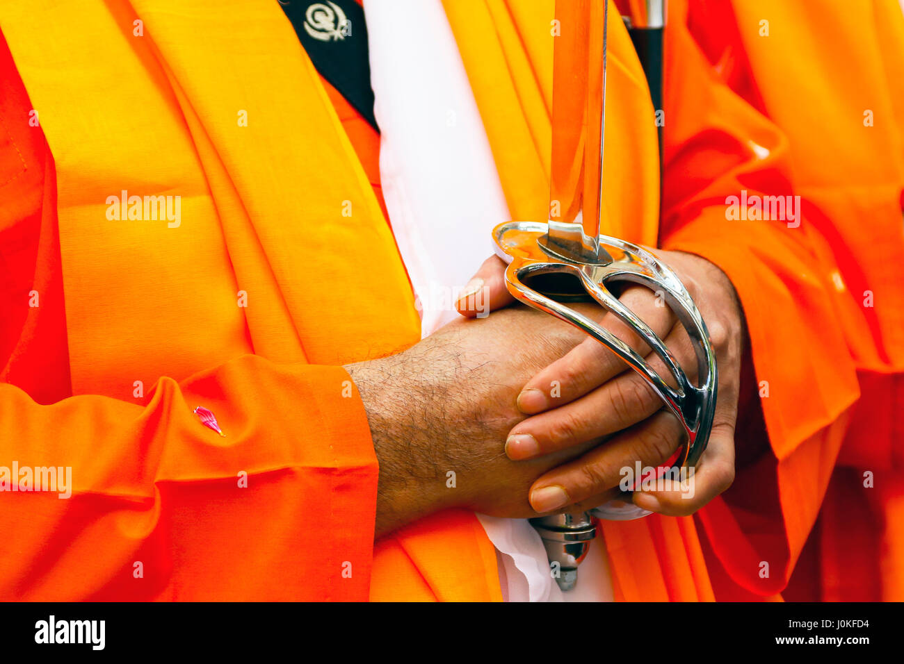 Sikh procesion of religious leaders, Panj Pyare, the beloved ones at the annual harvest festival of Vaishakhi, outside - Stock Image