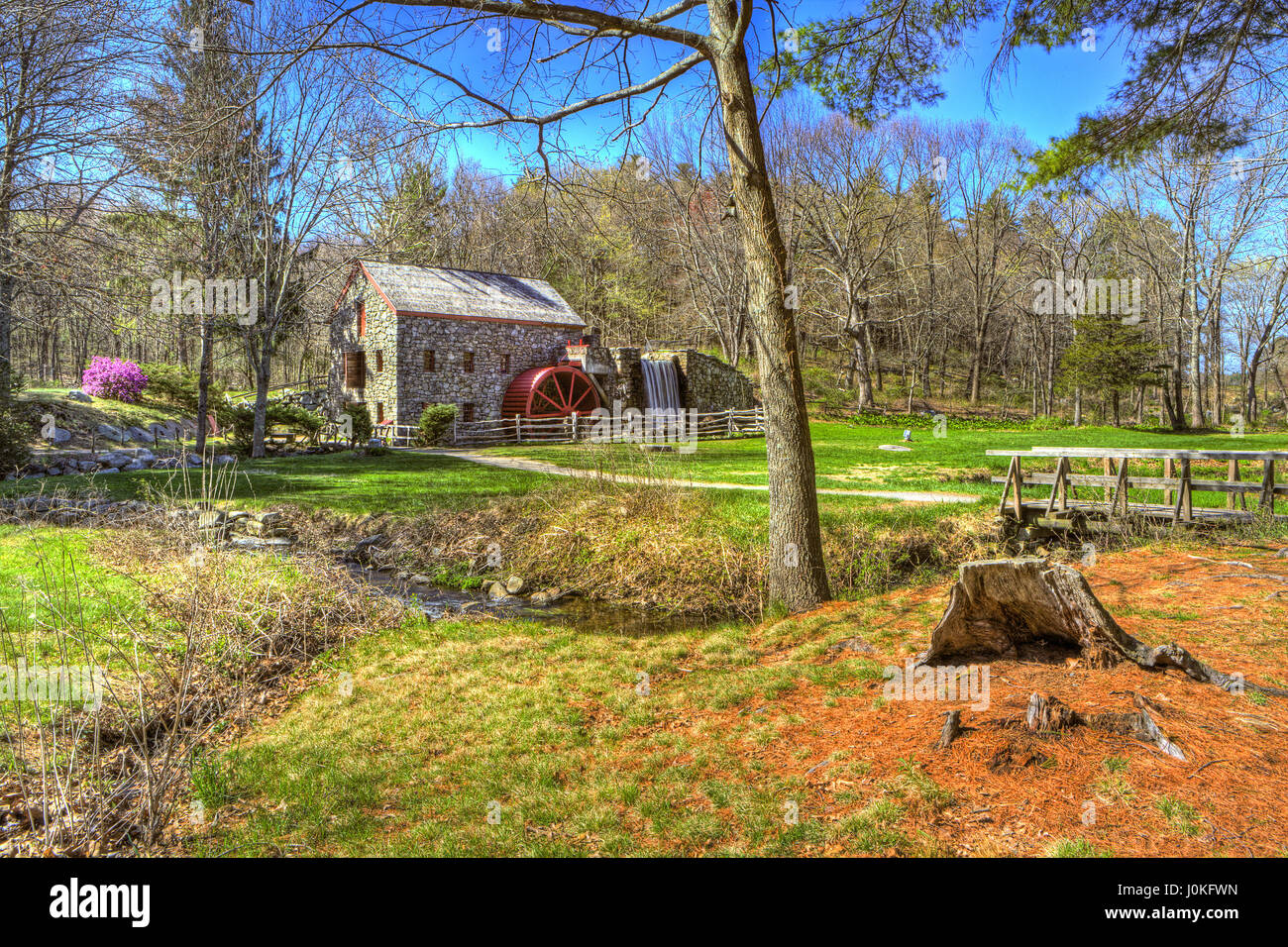 Facade of Longfellow's Wayside Inn Grist Mill built by Henry Ford in 1924 at Sudbury, Massachusetts. - Stock Image