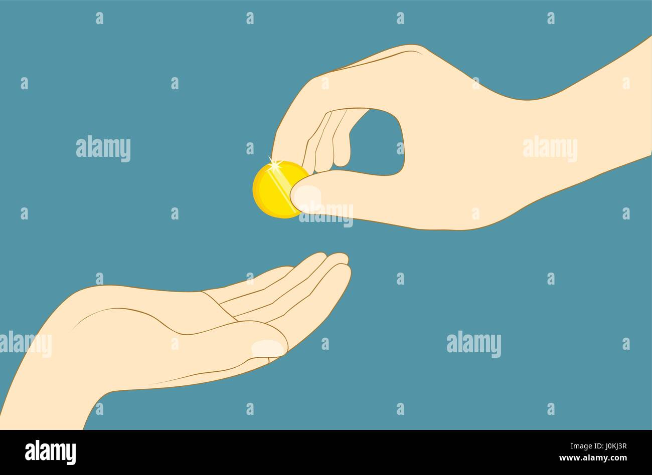 Hand giving money. Charity, donation concept. Flat vector illustration - Stock Vector