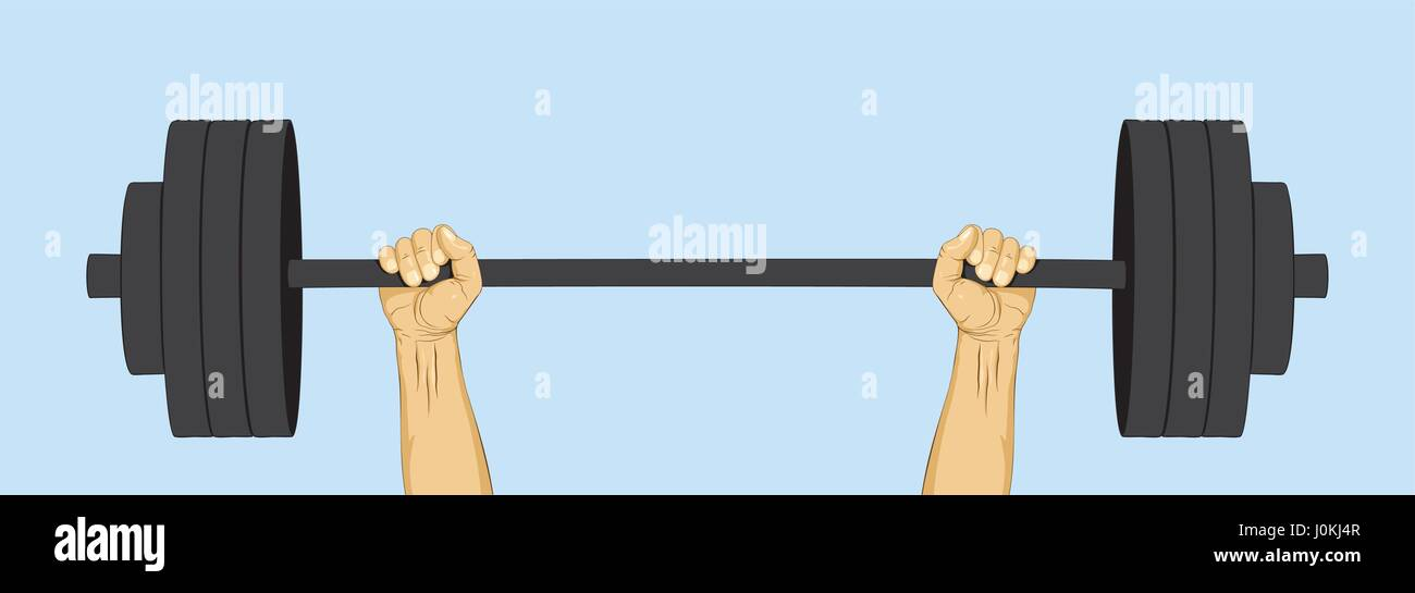 Hands lifted barbell weight. Strength and power symbol. Vector illustration - Stock Vector