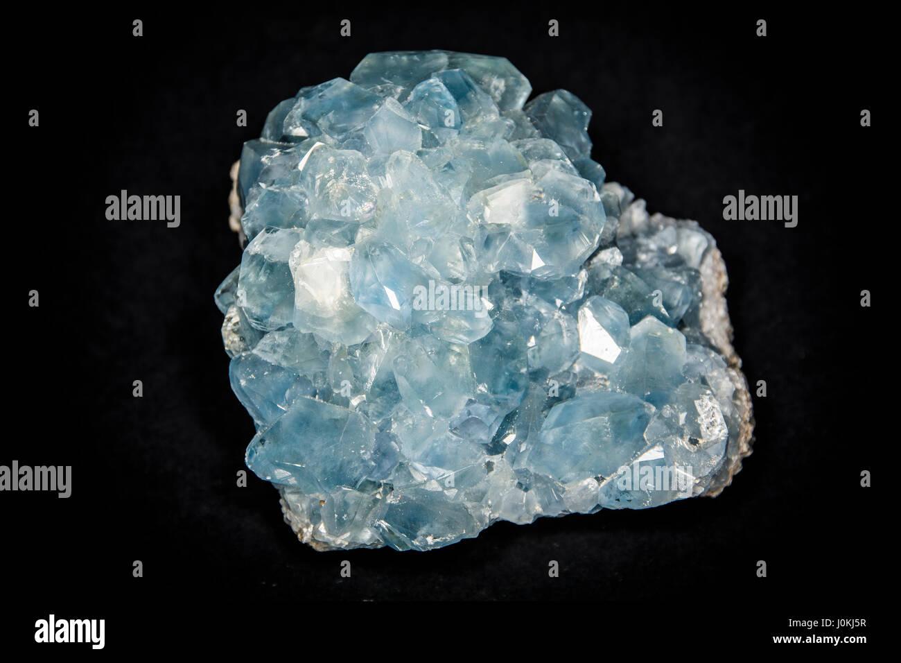 Piece of celestite or celestine crystal in studio shot Stock Photo