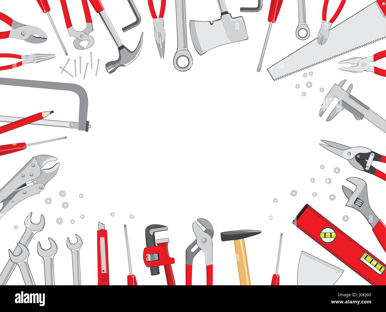 Working tools table frame composition top view background do it working tools table frame composition top view background do it yourself project vector illustration solutioingenieria Choice Image