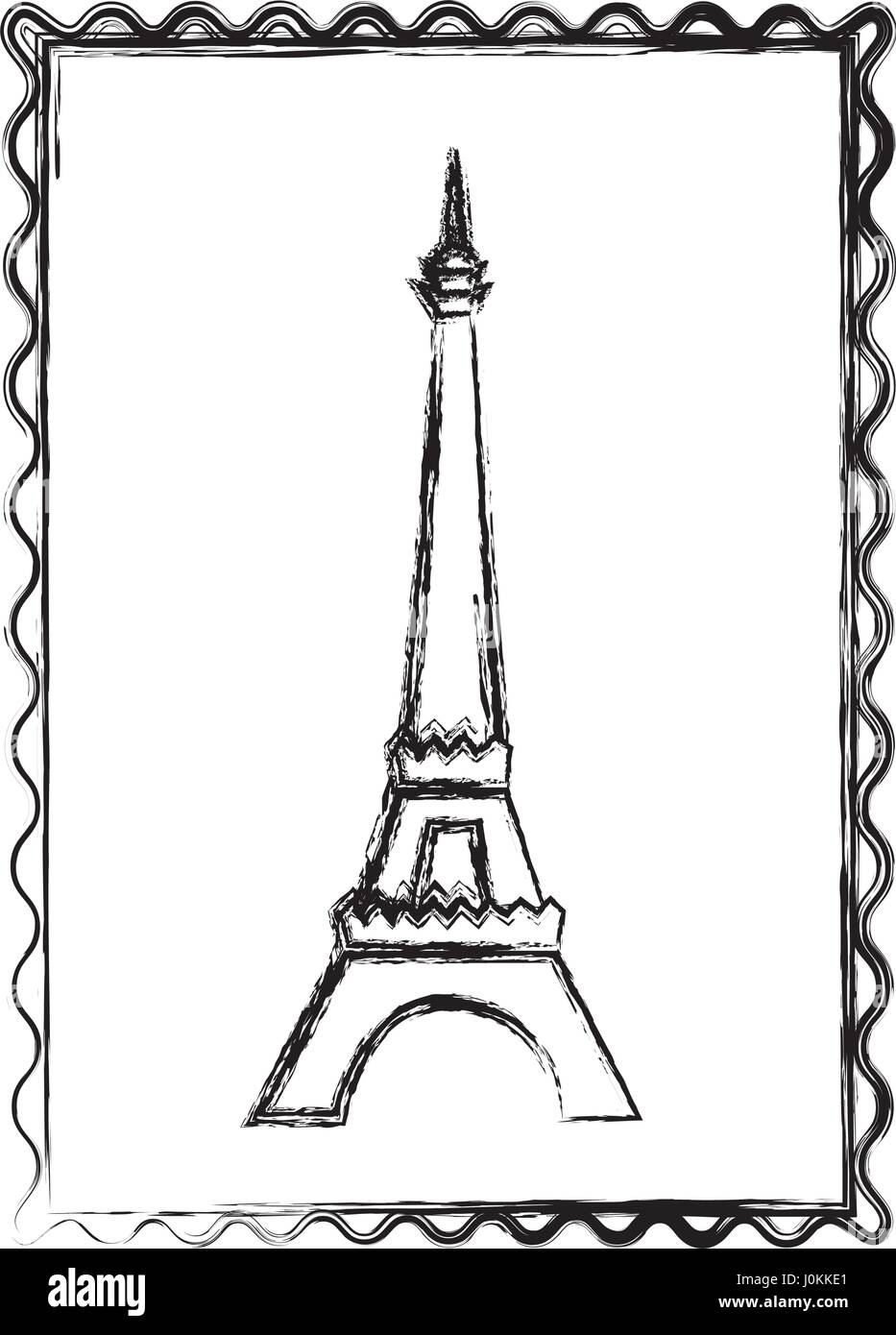 blurred silhouette frame with eiffel tower - Stock Vector