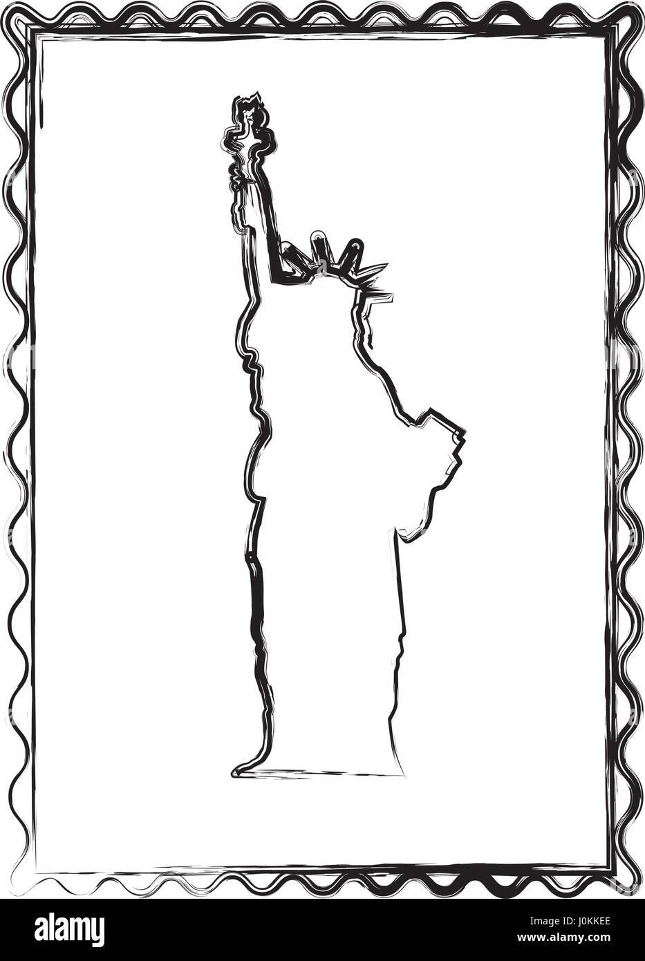 blurred silhouette frame of statue of liberty Stock Vector