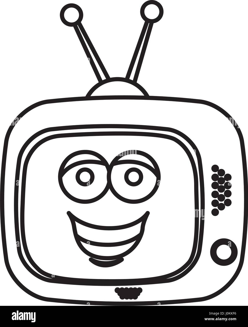 silhouette of antique tv device with smile face inside - Stock Vector