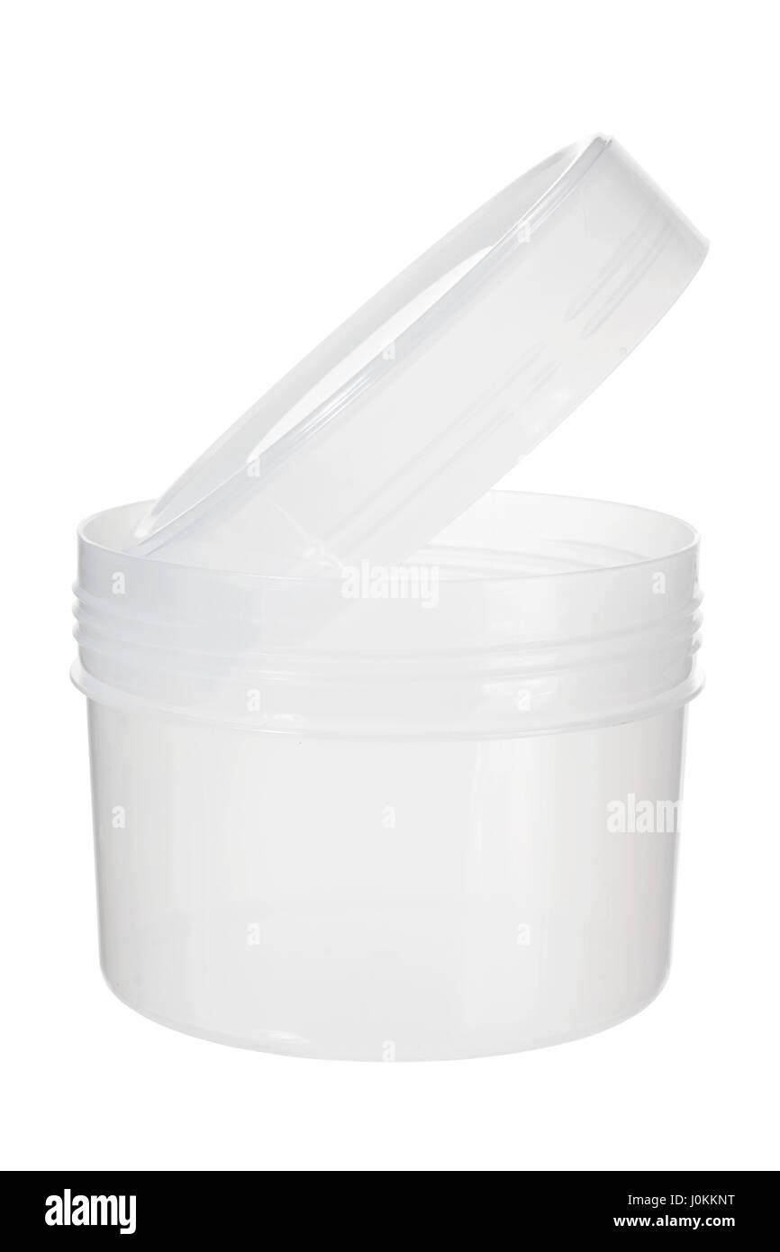 Plastic Jar on White Background Stock Photo