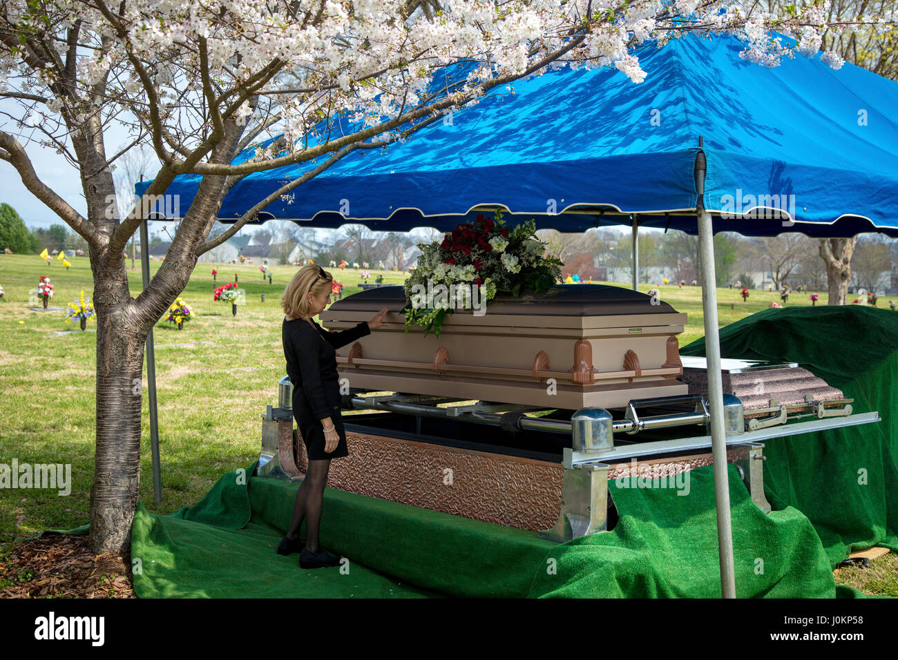 Woman touches  casket of parent before burial, Hendersonville, Tennessee, USA - Stock Image