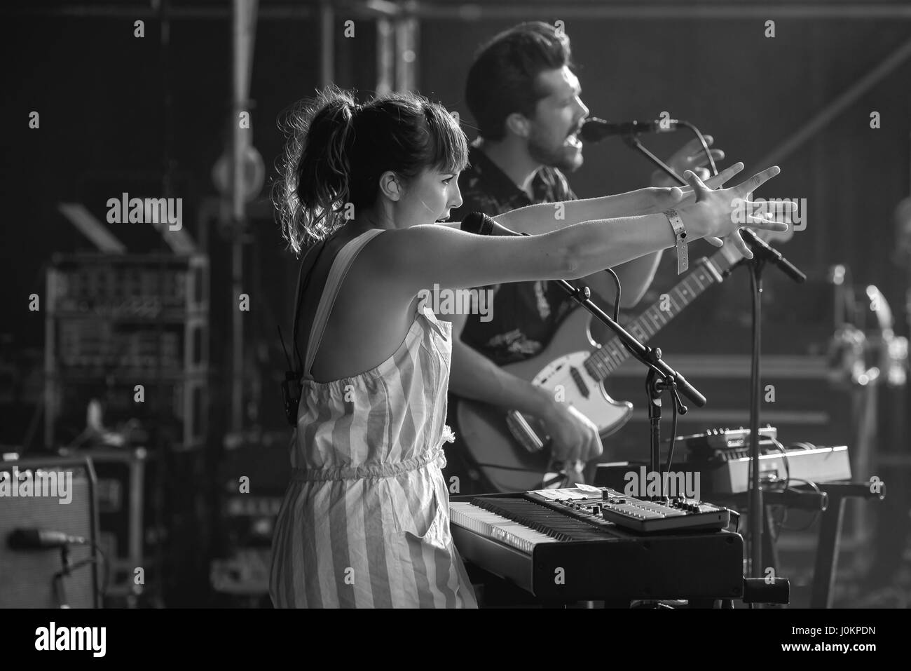 MADRID - SEP 10: Oh Wonder (alt-pop band) perform in concert at Dcode Music Festival on September 10, 2016 in Madrid, - Stock Image