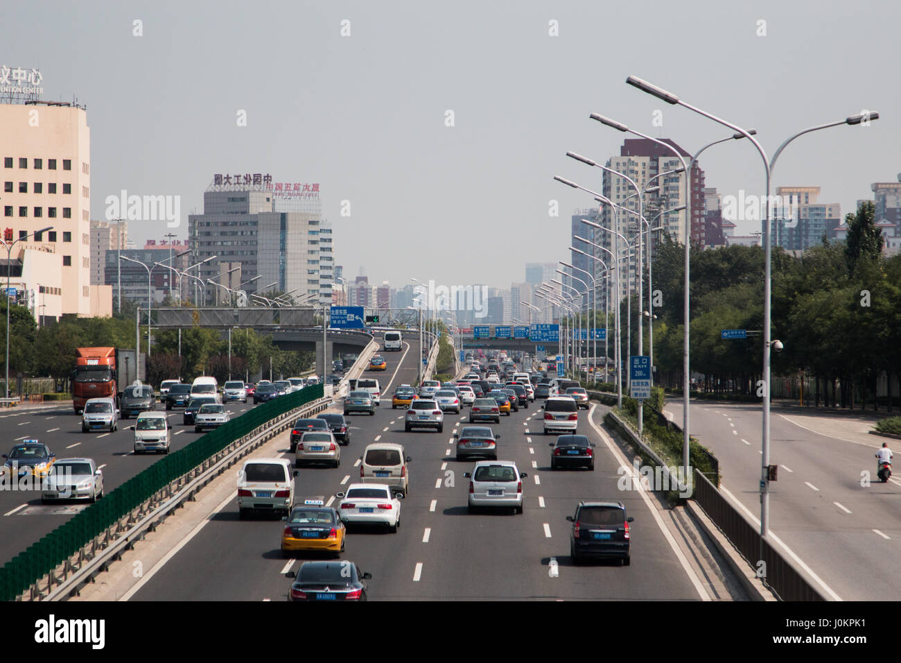 The rush hour chaos in Beijing taken from the Olympic park - Stock Image