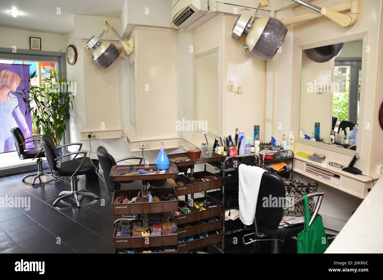 Retro Barber Shop In Singapore Chinese Style Hair Salon Stock Photo