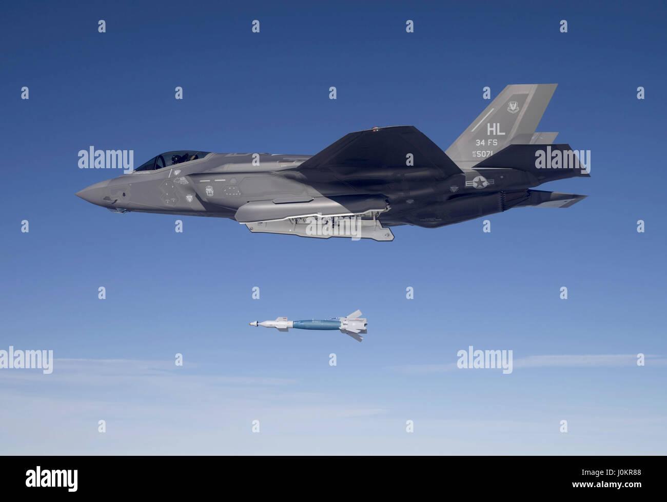 F-35A Lightning II drops a GBU-12 laser-guided bomb - Stock Image